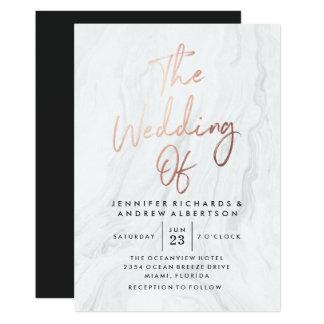 Modernes weißes MarmorRosen-Goldskript Wedding | 12,7 X 17,8 Cm Einladungskarte