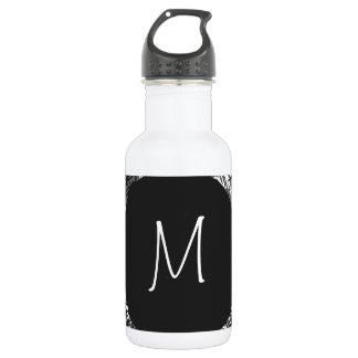 Modernes weißes Monogramm auf stilvollem Trinkflasche