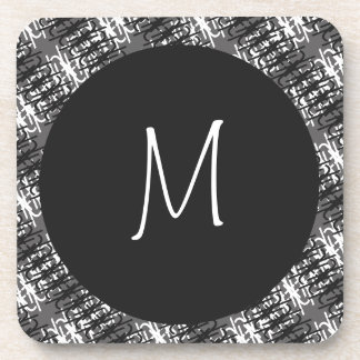 Modernes weißes Monogramm auf stilvollem Untersetzer