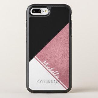 Modernes weißes Rosen-Goldschwarzdreieck OtterBox Symmetry iPhone 8 Plus/7 Plus Hülle