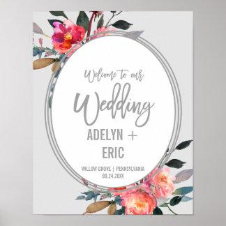 Modernes Winter-Blumewreath-Hochzeits-Willkommen Poster