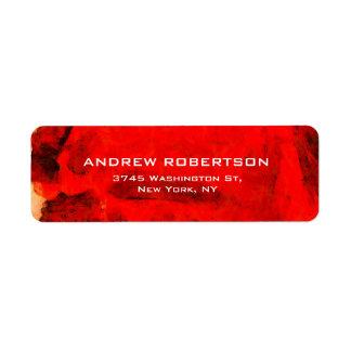 Modernes zeitgenössisches rotes abstraktes rücksendeetiketten
