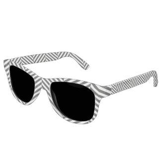 Modernes Zickzack Streifen-Schwarzweiss-Muster Brille