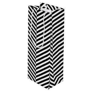 Modernes Zickzack Streifen-Schwarzweiss-Muster Geschenktüte Für Weinflaschen