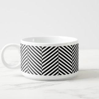 Modernes Zickzack Streifen-Schwarzweiss-Muster Kleine Suppentasse