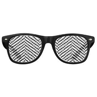Modernes Zickzack Streifen-Schwarzweiss-Muster Partybrille
