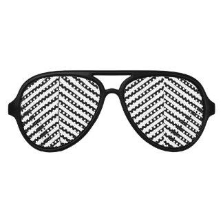Modernes Zickzack Streifen-Schwarzweiss-Muster Sonnenbrille