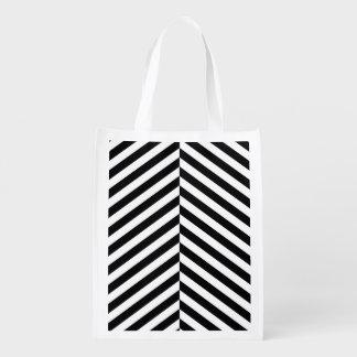 Modernes Zickzack Streifen-Schwarzweiss-Muster Wiederverwendbare Einkaufstasche