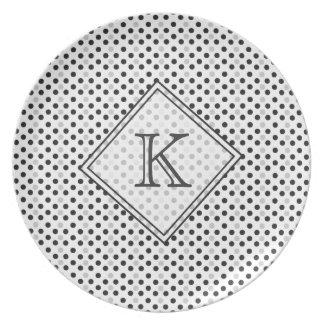 Modernes Zuhause-mit Monogramm schwarzes Grau Melaminteller