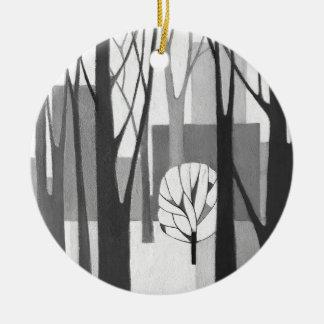 Modernistischer städtischer Winter, eine Malerei Rundes Keramik Ornament