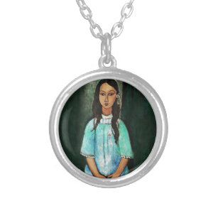 Modigliani Alice Vintage feine Kunst-Malerei Versilberte Kette