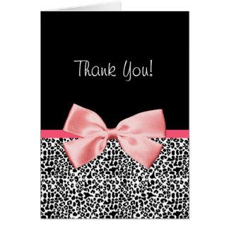 Modisch danke Leopard-Druck mit rosa Band Karte