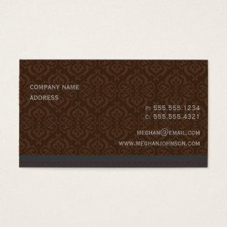 Modische Damast-Kakao-Visitenkarte-Schablone Visitenkarte