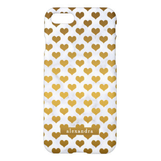 Modische Goldherzen auf weißem Marmor iPhone 8/7 Hülle