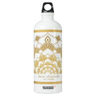 Modische GoldMandala-Spitze mit Namen und Stadt Aluminiumwasserflasche