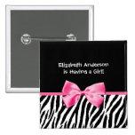 Modische rosa und schwarze Zebra-Druck-Mädchen-Bab Anstecknadelbuttons