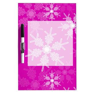 Modische rosa und weißes Weihnachtsschneeflocken Memoboard