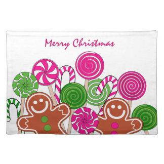 Modische rosa Weihnachtslebkuchen Stofftischset