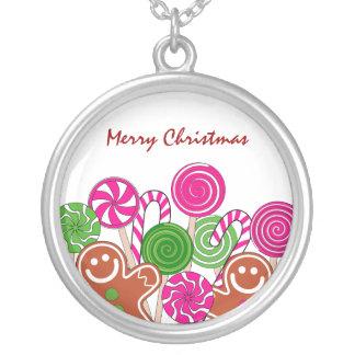 Modische rosa Weihnachtslebkuchen Versilberte Kette