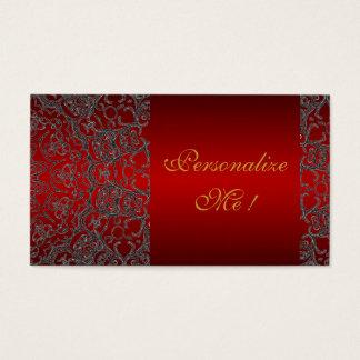 Modische rote Girly elegante schwarze moderne Visitenkarte