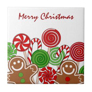 Modische rote Weihnachtslebkuchen Fliese