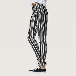 Modische schwarze u. weiße Streifen-Gamaschen Leggings