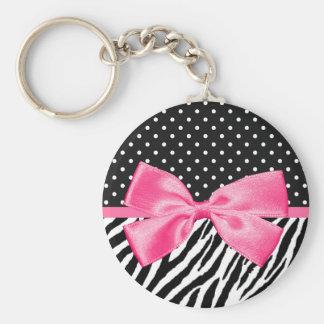 Modische Zebra-Druck-Tupfen und schickes rosa Band Standard Runder Schlüsselanhänger