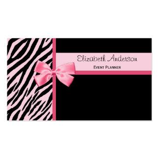 Modischer Event-Planerrosa und schwarzer Zebra mit Visitenkartenvorlagen
