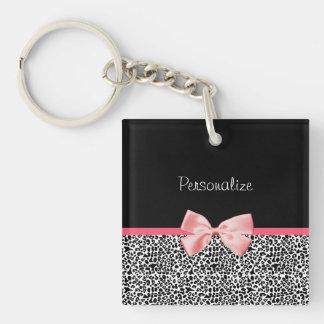 Modischer Leopard-Druck und rosa Band mit Namen Beidseitiger Quadratischer Acryl Schlüsselanhänger