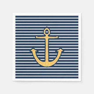 Modischer Marine-blaue Streifen-Seeanker Papierserviette