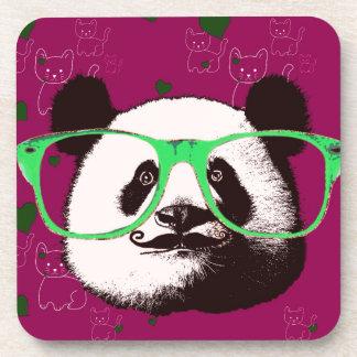Modischer Panda-Bärn-Gesichts-Glas-Schnurrbart Getränkeuntersetzer
