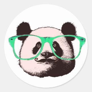 Modischer Panda-Bärn-Gesichts-Glas-Schnurrbart Runder Aufkleber
