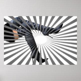 Modischer Schenkel-hohe Stiefel-Kunst Poster