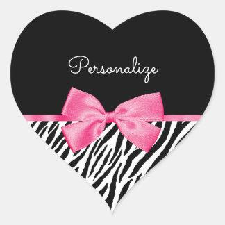 Modischer Zebra-Druck-schicker Pink-Bogen und Name Herz-Aufkleber