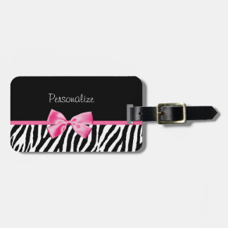 Modischer Zebra-Druck und rosa Band mit Namen Kofferanhänger