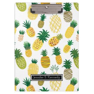 Modisches Ananas-Muster | addieren Ihren Namen Klemmbrett