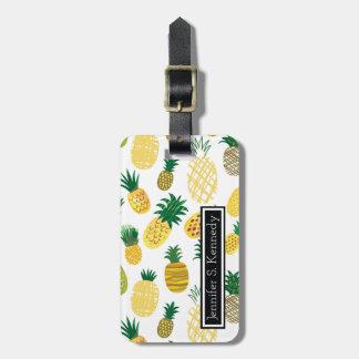 Modisches Ananas-Muster | addieren Ihren Namen Kofferanhänger
