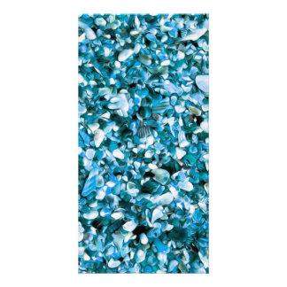 Modisches Blau gemaltes Pebble Beach Foto Grußkarte