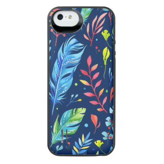 Modisches Blau-Orange BlumenBoho Feder-Muster iPhone SE/5/5s Batterie Hülle