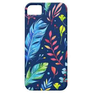 Modisches Blau-Orange BlumenBoho Feder-Muster Schutzhülle Fürs iPhone 5