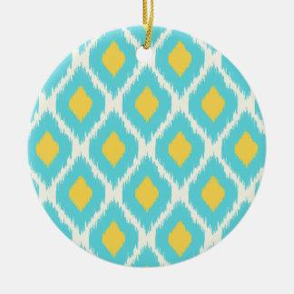 Modisches blaues gelbes aztekisches Ikat Stammes- Keramik Ornament