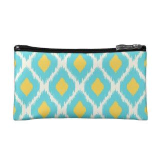 Modisches blaues gelbes aztekisches Ikat Stammes- Makeup-Tasche
