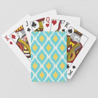 Modisches blaues gelbes aztekisches Ikat Stammes- Spielkarten
