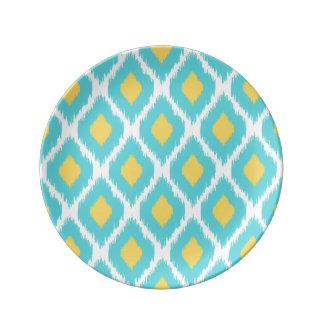 Modisches blaues gelbes aztekisches Ikat Stammes- Teller
