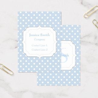 Modisches blaues und weißes Tupfen Monogramm Visitenkarte