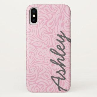 Modisches Blumenmuster mit Namen - Rosa und Grau iPhone X Hülle