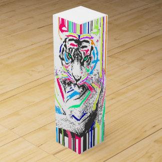 modisches buntes vibrierendes Neon stripes Wein-Geschenkverpackung