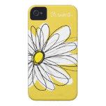 Modisches Gänseblümchen-Blumenillustration - Gelb iPhone 4 Hülle