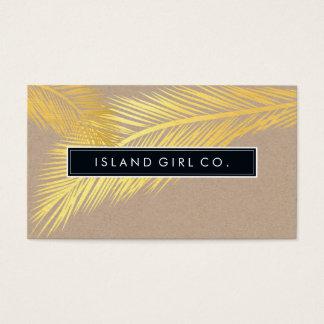 Modisches Gold Kraftpapier des MODERNEN TROPISCHEN Visitenkarten