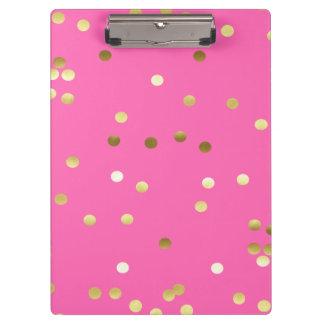 Modisches Goldfolieconfetti-Pink Klemmbrett